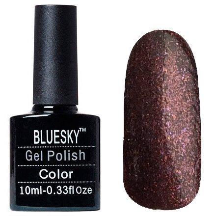 Bluesky Шеллак, цвет Z315 10mlBluesky 10 мл<br>Гель-лак шоколадный, с золотистыми и сиреневыми блестками, плотный<br>