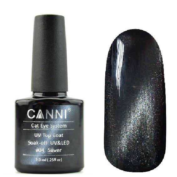 Canni, Cat Eye Top Coat - Магнитное верхнее покрытие №04 (7.3 мл)Canni<br>Магнитное верхнее покрытие, прозрачное, с подтоном и серебряным перламутром<br>