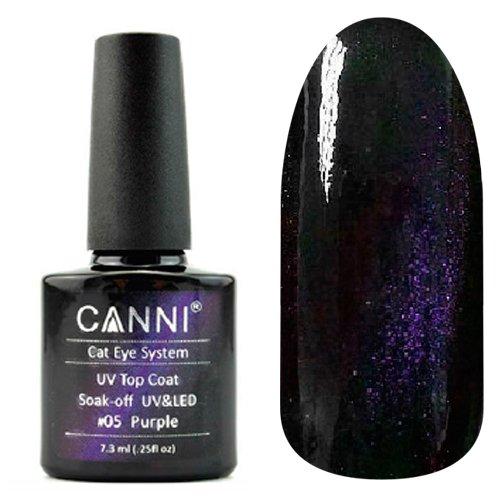 Canni, Cat Eye Top Coat - Магнитное верхнее покрытие №05 (7.3 мл)Canni<br>Магнитное верхнее покрытие, прозрачное, с подтоном и пурпурным перламутром<br>