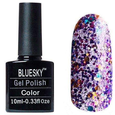 Bluesky, Шеллак цвет №121Bluesky 10 мл<br>Гель-лак прозрачный с крупными, мелкими блестками и стружка.<br>