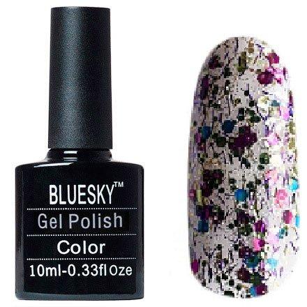Bluesky, Шеллак цвет №123Bluesky 10 мл<br>Гель-лак прозрачный с крупными, мелкими блестками и стружка.<br>