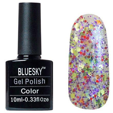 Bluesky, Шеллак цвет №128Bluesky 10 мл<br>Гель-лак прозрачный с крупными, мелкими блестками и стружка.<br>