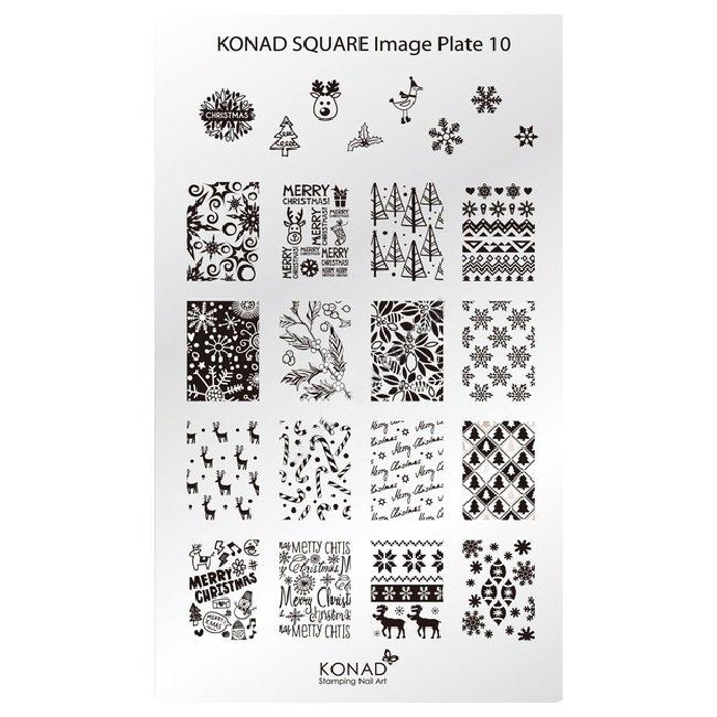Konad, диск для стемпинга Square Image Plate 10Диски для стемпинга Konad<br>20 видов изображений, с помощью которых вы сможете создать великолепные рисунки на ногтях, которые очень сложно создать вручную.<br>