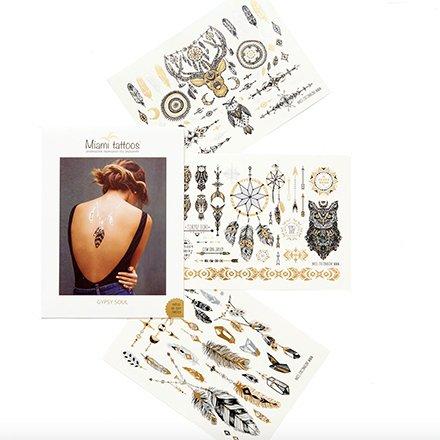 Miami Tattoos, Комплект переводных татуировок Gypsy SoulПереводные тату Miami Tattoos<br>Набор дизайнерских флеш-тату.<br>