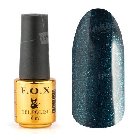 F.O.X, Гель-лак - Pigment №125 (6 ml.)F.O.X<br>Гель-лак темный бирюзово-синий, с блестками, плотный<br>