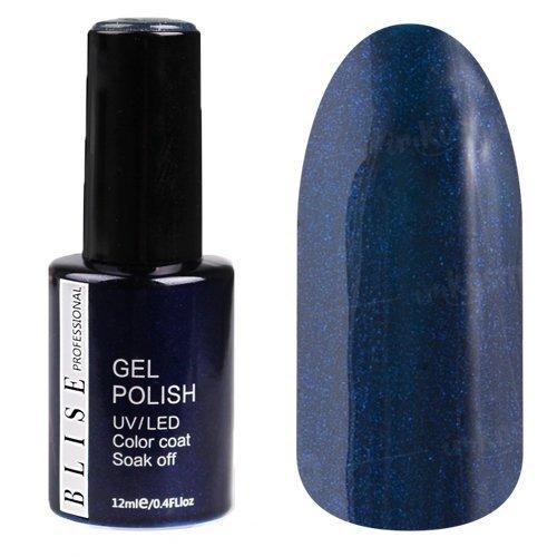 BLISE, Гель-лак - Черно-синий с синим микроблеском №030 (12 ml.)BLISE<br>Гель-лак черно-синий с синим микроблеском, плотный<br>