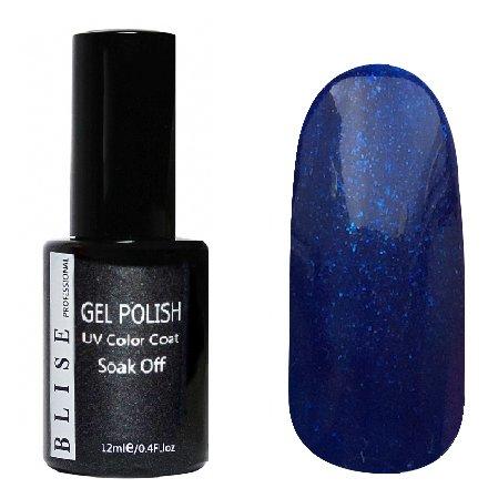 BLISE, Гель-лак - Темно-синий с синими блестками №073 (12 ml.)BLISE<br>Гель-лак nемно-синий с синими блестками,плотный<br>