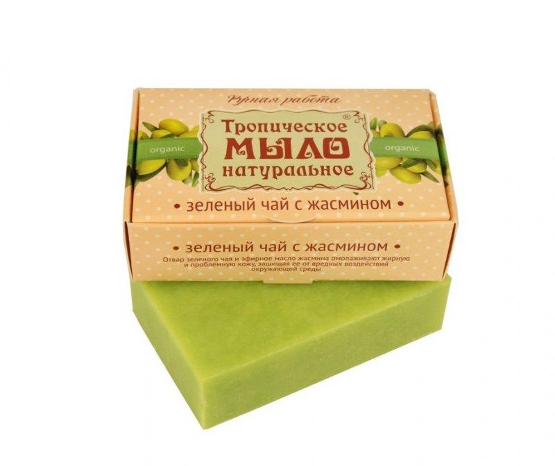Дом Природы, Мыло натуральное (Зеленый чай с жасмином)Органическое мыло<br>Нежно-зеленое мыло с отваром зеленого чая имаслом жасмина.<br>