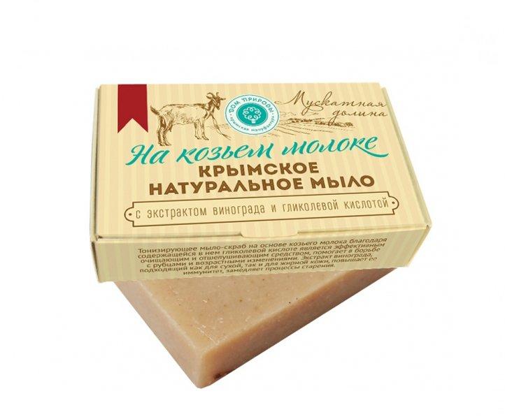 Дом Природы, Мыло натуральное (Мускатная долина) на козьем молокеОрганическое мыло<br>Тонизирующее мыло-скраб.<br>