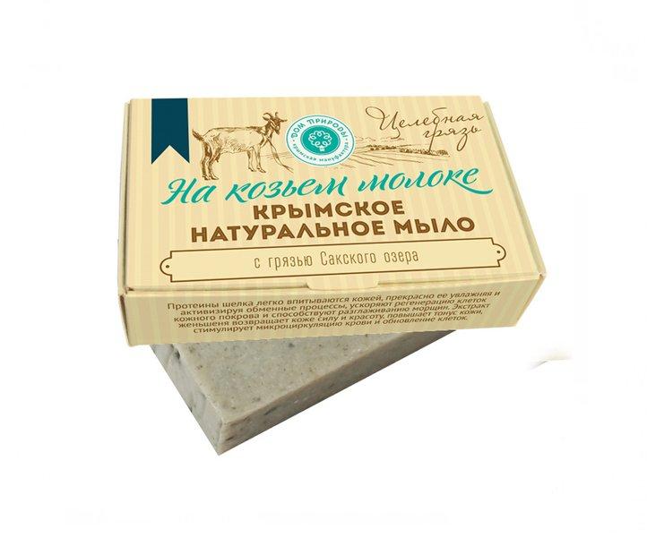 Дом Природы, Мыло натуральное (Целебная грязь) на козьем молокеОрганическое мыло<br>Целебное очищающее мыло.<br>