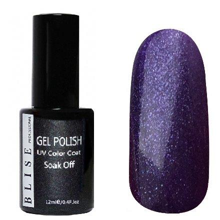 BLISE, Гель-лак - Глубокий темно-фиолетовый с блестками №113 (12 ml.)BLISE<br>Гель-лак глубокий темно-фиолетовый с блестками, плотный<br>