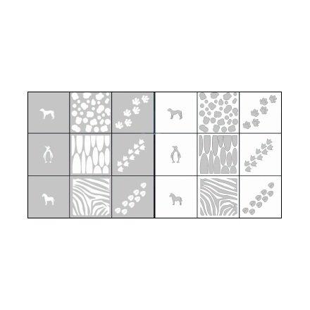 AIRnails, Трафарет Серия CL12Трафареты<br>Набор многоразовых клеевых трафаретов для аэрографии на ногтях, 9шт/1уп<br>