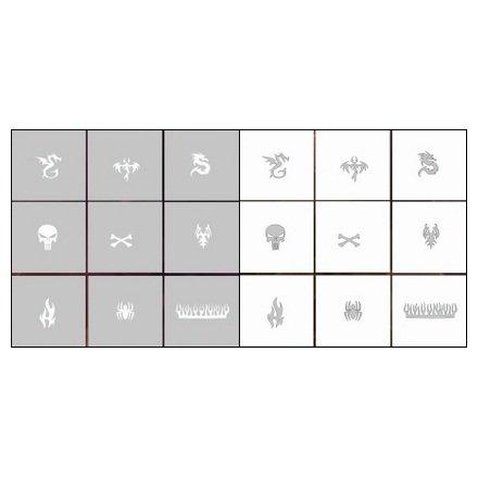 AIRnails, Трафарет Серия CL18Трафареты<br>Набор многоразовых клеевых трафаретов для аэрографии на ногтях, 9шт/1уп<br>