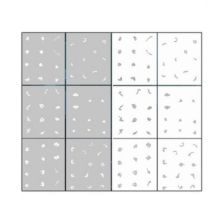 AIRnails, Трафарет Серия LE2-3Трафареты<br>Набор многоразовых клеевых трафаретов для аэрографии на ногтях, 6шт/1уп<br>