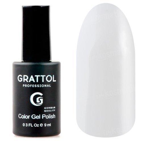 Grattol, Гель-лак White №01 (9 мл.)Grattol<br>Гель лак, белый, глянцевый, плотный<br>