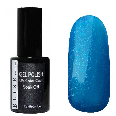 BLISE, Гель-лак - Умеренно-синий с синими блестками №168 (12 ml.)BLISE<br>Гель-лак умеренно-синий с синими блестками, полупрозрачный<br>