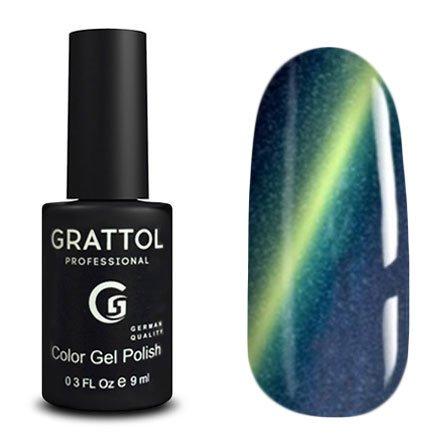 Grattol, Гель-лак Кошачий глаз - Magic Sea №09 (9 мл.)Grattol<br>Магнитный гель лак, темно-синий, с эффектом кошачьего глаза, плотный<br>