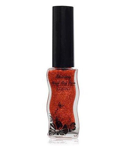 Konad, Лак для дизайна Shining art Pen - OrangeЛаки для дизайна с тонкой кистью Konad<br>Оранжевый с блестками, полупрозрачный.<br>