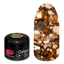 PNB, Galaxy Gel UV/LED -  Глиттер-гель Gold №03 (5 мл.)