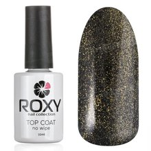 ROXY Nail Collection, No Wipe Top Coat Shine - Топ без липкого слоя с шиммером № Т01 (10 ml.)