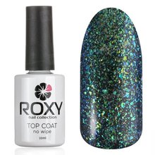 ROXY Nail Collection, No Wipe Top Coat Shine - Топ без липкого слоя с шиммером № Т04 (10 ml.)