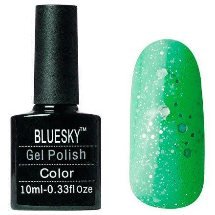 Bluesky Карнавал, 006Bluesky 10 мл<br>Гель-лак неоново-изумрудный оттенок, с крупными блестками и шиммером, полупрозрачный.<br>