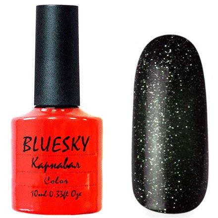 Bluesky Карнавал, 012Bluesky 10 мл<br>Гель-лак чёрный оттенок, с зелеными блестками, плотный.<br>