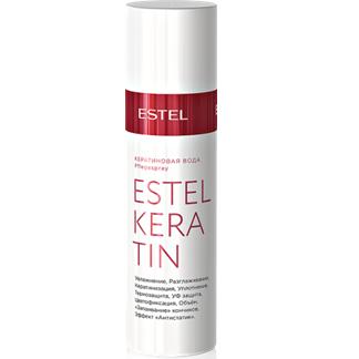 Estel, Кератиновая вода KERATIN, 100 млВсе средства<br>Увлажнение, кератинизация, уплотнение, цветофиксация, объем, разглаживание, термозащита, эффект «антистатик», «запаивание» кончиков, УФ защита<br>