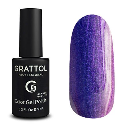 Grattol, Гель-лак Galaxy Sapphire №009Grattol<br>Фиолетовый гель лак, с эффектом хамелеон, плотный, голографик<br>