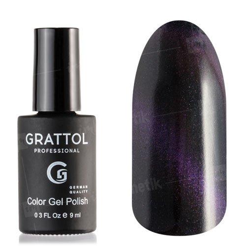 Grattol, Топ Кошачий глаз - Crystal Violet №005 (9 мл.)Grattol<br>Фиолетовый топ/гель лак, с эффектом Кошачий глаз, полупрозрачный<br>