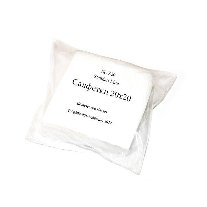 Standart Line, Салфетки белые 20*20 (100 шт)Прочие материалы <br>Безворсовые салфетки из спанлейса, мягкие, прочные хорошо впитывают.<br>