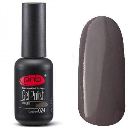 PNB, Гель-лак цвет №024 Caution (8 мл.)PNB<br>Гель-лак темно-серый, без блесток и перламутра, плотный<br>