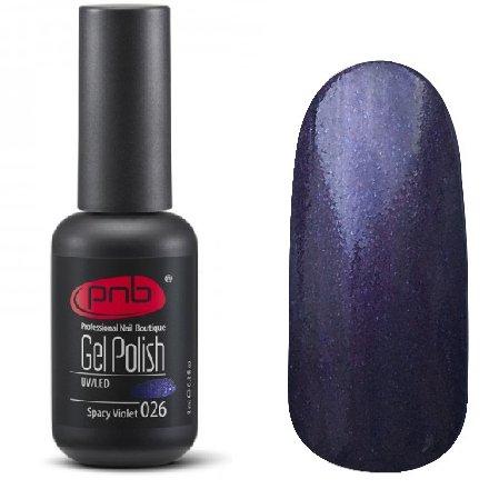 PNB, Гель-лак цвет №026 Spacy Violet (8 мл.)PNB<br>Гель-лакфиолетовый, перламутровый, с синими микроблестками, плотный<br>