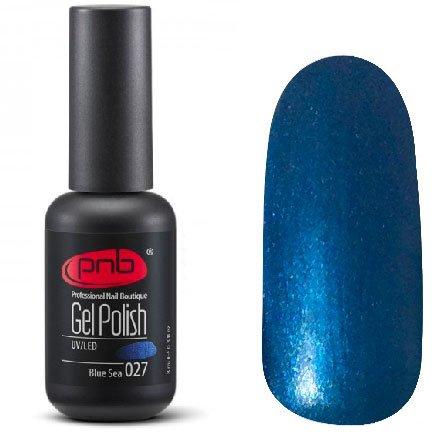 PNB, Гель-лак цвет №027 Blue Sea (8 мл.)PNB<br>Гель-лакнасыщенный синий, перламутровый, плотный<br>