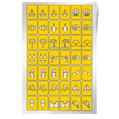 PrimaNails, Трафарет для дизайна ногтей - ПляжPrimaNails<br>Самоклеющиеся трафареты<br>