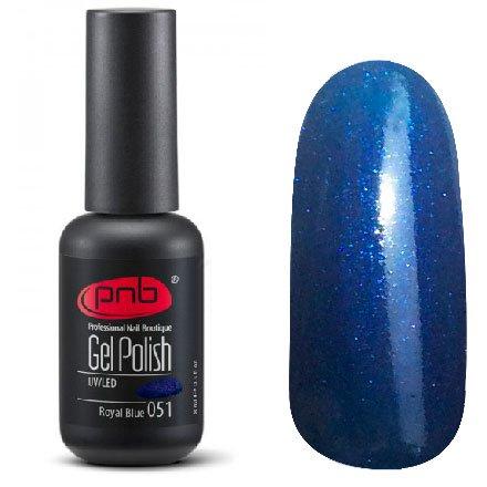 PNB, Гель-лак цвет №051 Royal Blue (8 мл.)PNB<br>Гель-лактемно-синий, перламутровый, с неоновыми микроблестками<br>