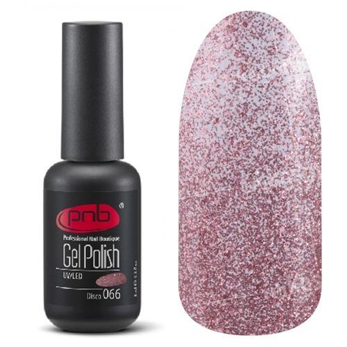 PNB, Гель-лак цвет №066 Disco (8 мл.)PNB<br>Гель-лакполупрозрачный, с большим количеством стальных розовых блесток<br>