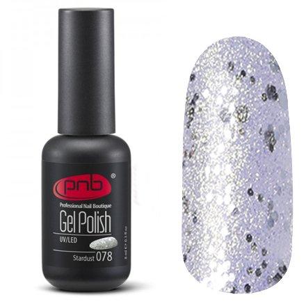 PNB, Гель-лак цвет №078 Stardust (8 мл.)PNB<br>Гель-лакполупрозрачный сзолотыми микроблестками и серебряными крупными блестками<br>
