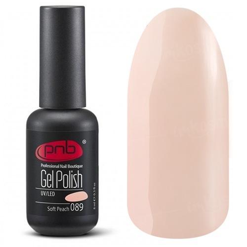 PNB, Гель-лак цвет №089 Soft Peach (8 мл.)PNB<br>Гель-лак светлый персиковый, без блесток и перламутра, плотный<br>