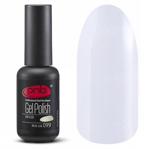 PNB, Гель-лак цвет №099 Milk Silk (8 мл.)PNB<br>Гель-лак молочно-белый, без блесток и перламутра, полупрозрачный<br>