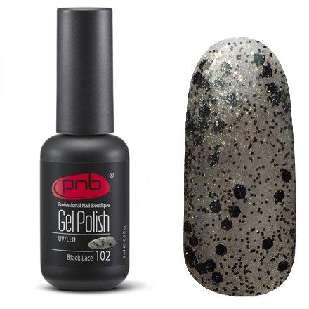 PNB, Гель-лак цвет №102 Black Lace (8 мл.)PNB<br>Гель-лакполупрозрачный, темно-серый, с насыщенными светло-золотистыми и черными блестками<br>