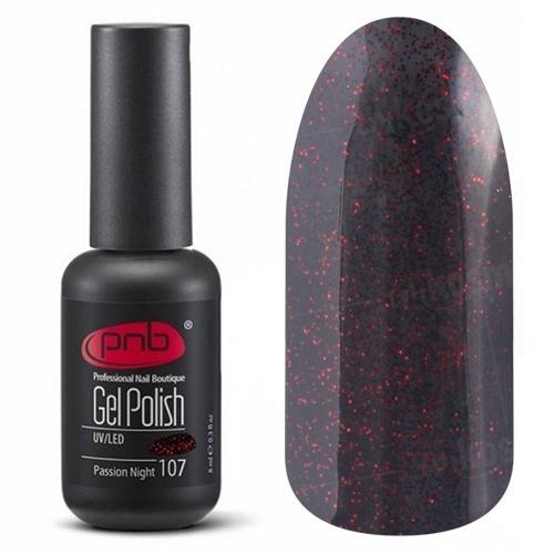 PNB, Гель-лак цвет №107 Passion Night (8 мл.)PNB<br>Гель-лакнасыщенный черно-бордовый с мелкими рубиново-красными блестками, плотный<br>
