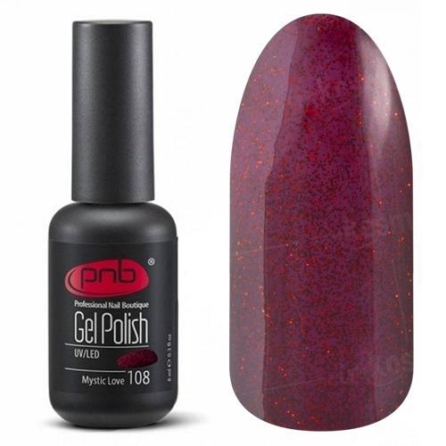 PNB, Гель-лак цвет №108 Mystic Love (8 мл.)PNB<br>Гель-лактемный вишневый с красным блеском, плотный<br>