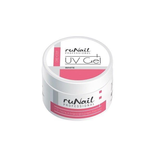ruNail, УФ-гель однофазный (белый), 15 гОднофазные УФ гели RuNail<br>Самовыравнивающийся белый гель средней вязкости.<br>