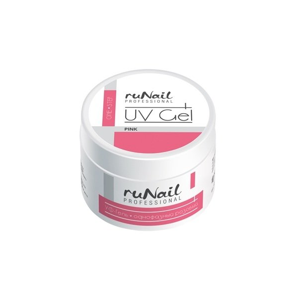 ruNail, УФ-гель однофазный (розовый), 30 гОднофазные УФ гели RuNail<br>Самовыравнивающийся розово-прозрачный гель средней вязкости.<br>