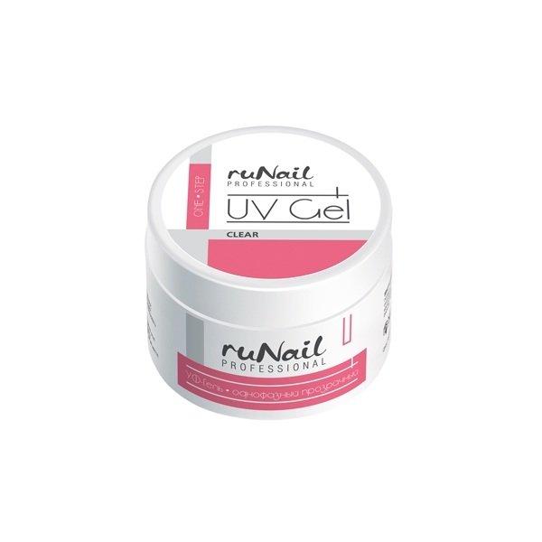 ruNail, УФ-гель однофазный (прозрачный), 30 гОднофазные УФ гели RuNail<br>Универсальный гель средней вязкости.<br>