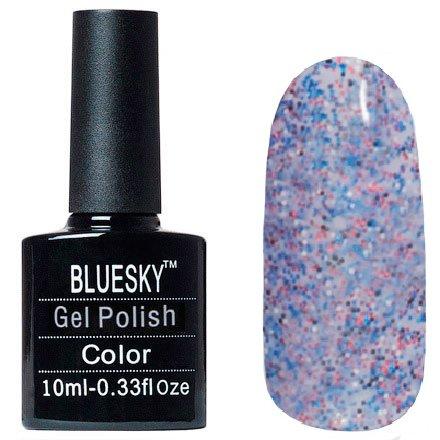 Bluesky Шеллак, цвет №135Bluesky 10 мл<br>Гель-лак дымчатый с белыми, синими, черными и красными крупицами, полупрозрачный.<br>