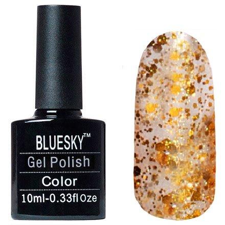 Bluesky, Шеллак цвет №140Bluesky 10 мл<br>Гель-лак прозрачный с золотым перламутром и крупными золотыми блестками.<br>
