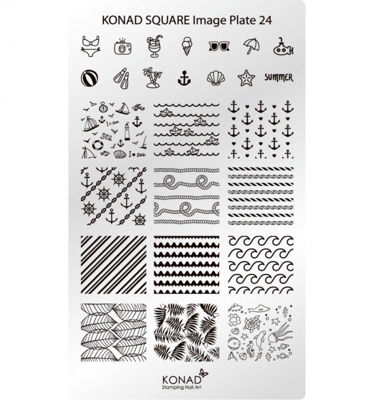 Konad, диск для стемпинга Square Image Plate 24Диски для стемпинга Konad<br>В пластине для стемпинга представлены 26 изображениями на тему Отдых и Море.<br>