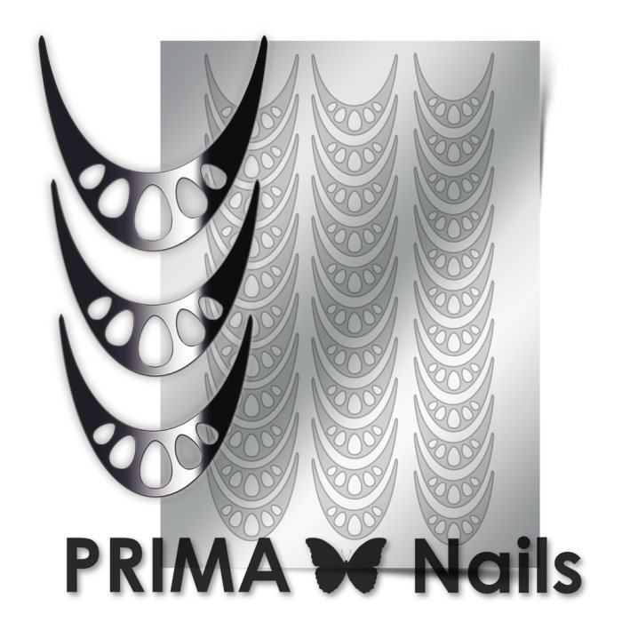 PrimaNails, Металлизированные наклейки для дизайна CL-006, СереброМеталлизированные наклейки<br>Металлизированные наклейки PRIMA NAILS - модный тренд в дизайне ногтей, который актуален для любого сезона!<br>
